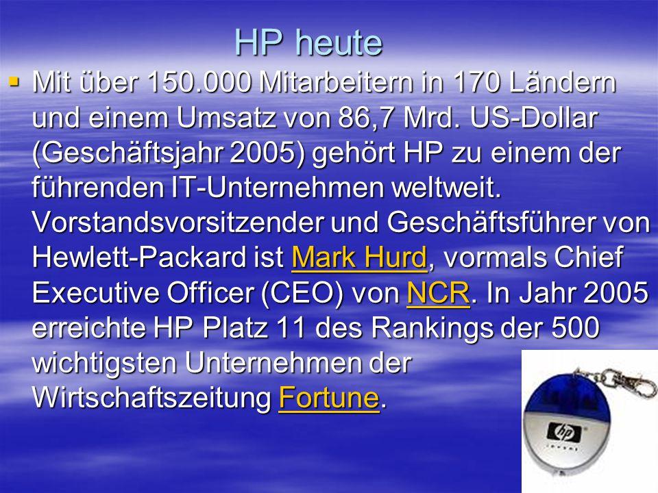 HP heute Mit über 150.000 Mitarbeitern in 170 Ländern und einem Umsatz von 86,7 Mrd. US-Dollar (Geschäftsjahr 2005) gehört HP zu einem der führenden I