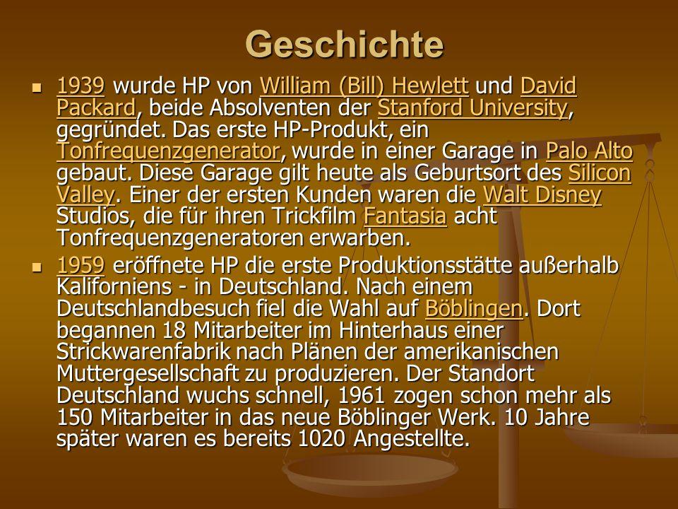 Geschichte 1939 wurde HP von William (Bill) Hewlett und David Packard, beide Absolventen der Stanford University, gegründet. Das erste HP-Produkt, ein