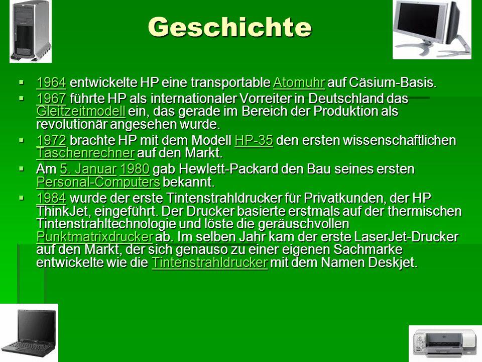 Geschichte 1964 entwickelte HP eine transportable Atomuhr auf Cäsium-Basis. 1964 entwickelte HP eine transportable Atomuhr auf Cäsium-Basis. 1964Atomu