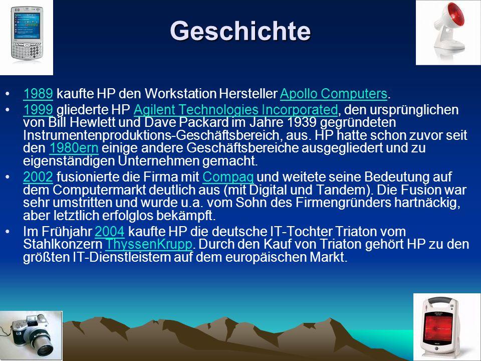 Geschichte 1989 kaufte HP den Workstation Hersteller Apollo Computers.1989Apollo Computers 1999 gliederte HP Agilent Technologies Incorporated, den ur