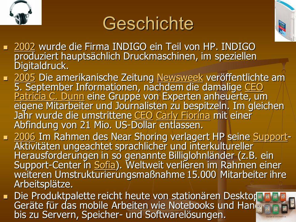 Geschichte 2002 wurde die Firma INDIGO ein Teil von HP. INDIGO produziert hauptsächlich Druckmaschinen, im speziellen Digitaldruck. 2002 wurde die Fir