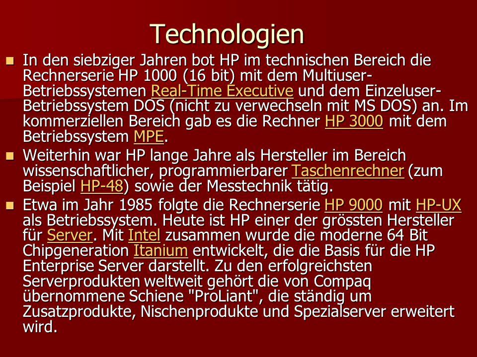 Technologien In den siebziger Jahren bot HP im technischen Bereich die Rechnerserie HP 1000 (16 bit) mit dem Multiuser- Betriebssystemen Real-Time Exe