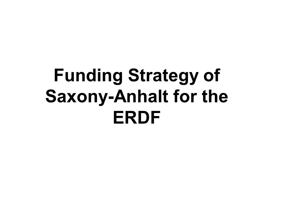Funding Strategy of Saxony-Anhalt for the ERDF