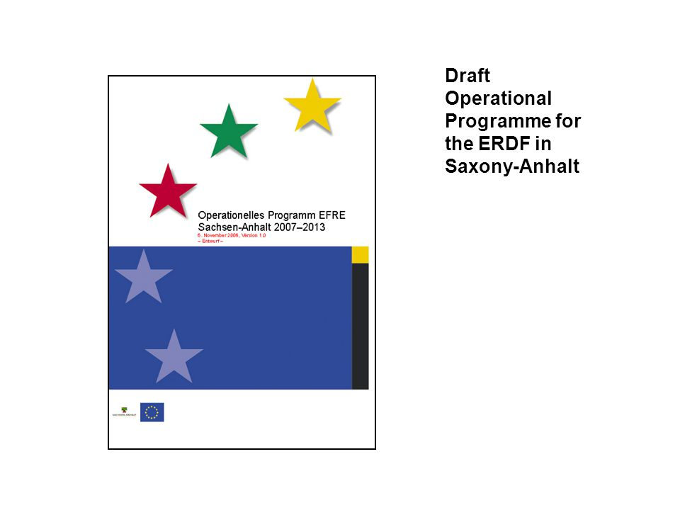 Draft Operational Programme for the ERDF in Saxony-Anhalt