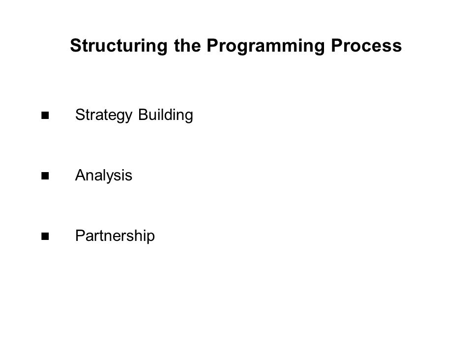 Structuring the Programming Process Strategy Building Analysis Partnership