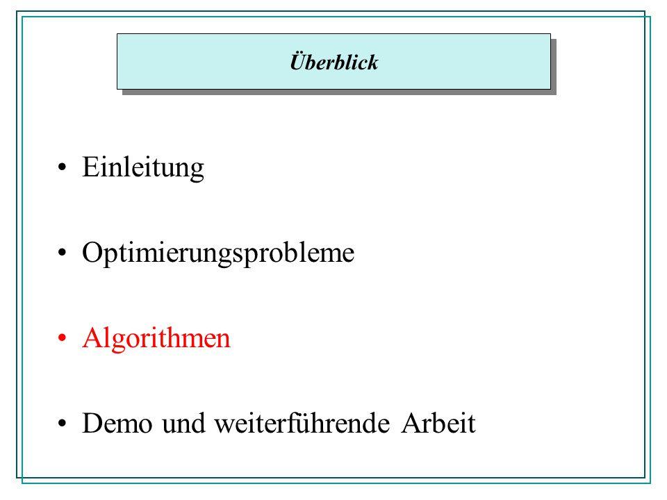 Einleitung Optimierungsprobleme Algorithmen Demo und weiterführende Arbeit Überblick