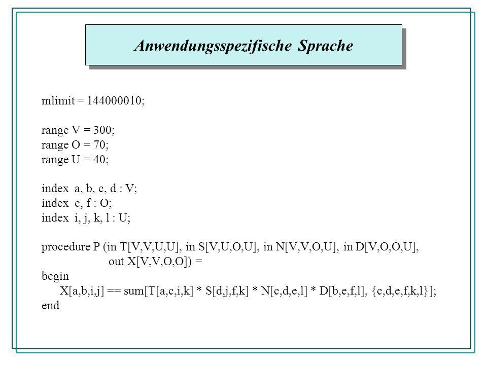 mlimit = 144000010; range V = 300; range O = 70; range U = 40; index a, b, c, d : V; index e, f : O; index i, j, k, l : U; procedure P (in T[V,V,U,U],