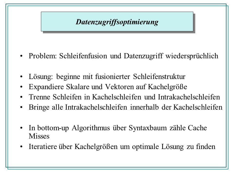 Problem: Schleifenfusion und Datenzugriff wiedersprüchlich Lösung: beginne mit fusionierter Schleifenstruktur Expandiere Skalare und Vektoren auf Kachelgröße Trenne Schleifen in Kachelschleifen und Intrakachelschleifen Bringe alle Intrakachelschleifen innerhalb der Kachelschleifen In bottom-up Algorithmus über Syntaxbaum zähle Cache Misses Iteratiere über Kachelgrößen um optimale Lösung zu finden Datenzugriffsoptimierung
