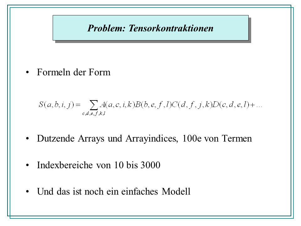 Formeln der Form Dutzende Arrays und Arrayindices, 100e von Termen Indexbereiche von 10 bis 3000 Und das ist noch ein einfaches Modell Problem: Tensorkontraktionen
