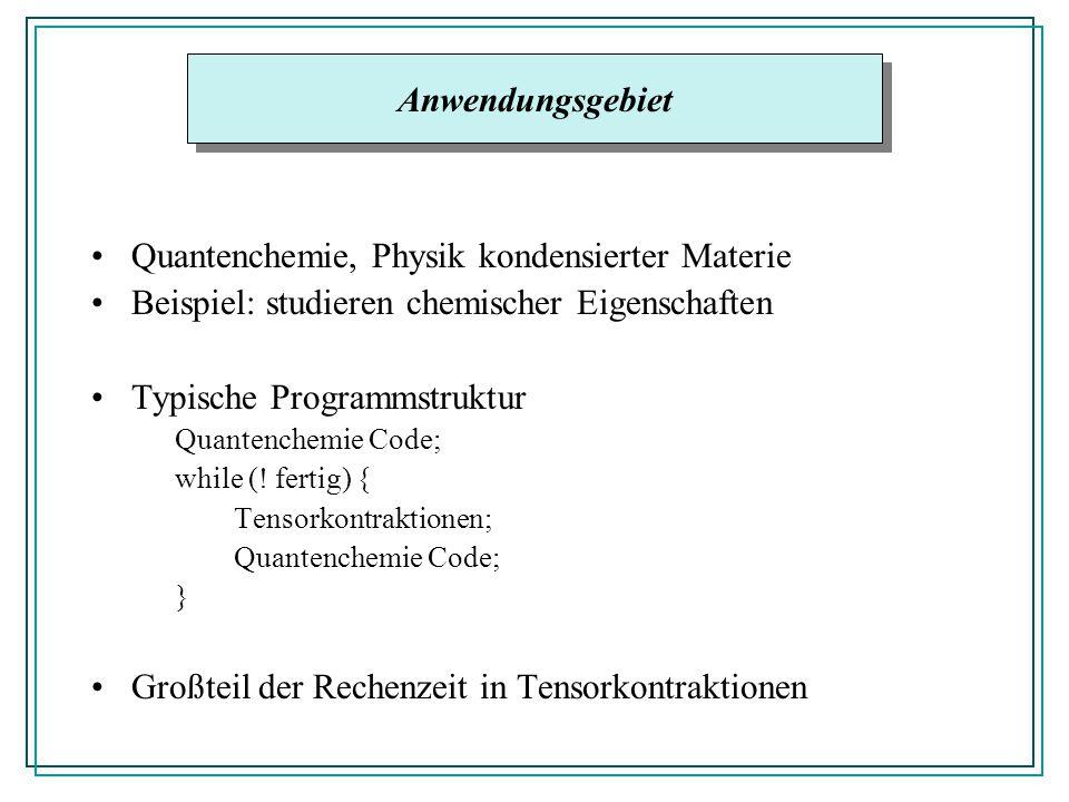 Quantenchemie, Physik kondensierter Materie Beispiel: studieren chemischer Eigenschaften Typische Programmstruktur Quantenchemie Code; while (! fertig