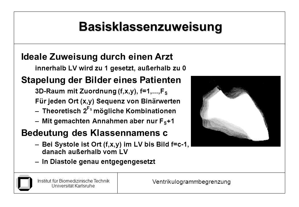 Institut für Biomedizinische Technik Universität Karlsruhe Ventrikulogrammbegrenzung Ideale Zuweisung durch einen Arzt innerhalb LV wird zu 1 gesetzt, außerhalb zu 0 Stapelung der Bilder eines Patienten 3D-Raum mit Zuordnung (f,x,y), f=1,...,F S Für jeden Ort (x,y) Sequenz von Binärwerten –Theoretisch 2 F S mögliche Kombinationen –Mit gemachten Annahmen aber nur F S +1 Bedeutung des Klassennamens c –Bei Systole ist Ort (f,x,y) im LV bis Bild f=c-1, danach außerhalb vom LV –In Diastole genau entgegengesetzt Basisklassenzuweisung