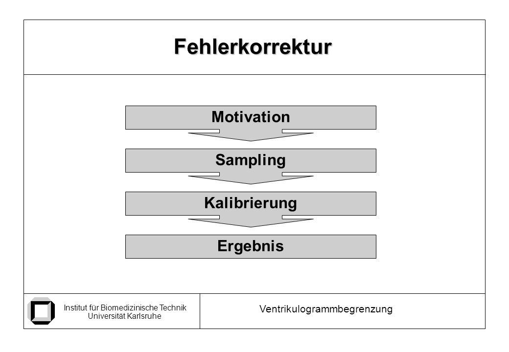 Institut für Biomedizinische Technik Universität Karlsruhe Ventrikulogrammbegrenzung Fehlerkorrektur Motivation Sampling Kalibrierung Ergebnis
