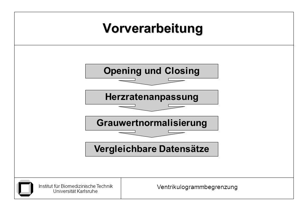 Institut für Biomedizinische Technik Universität Karlsruhe Ventrikulogrammbegrenzung Vorverarbeitung Opening und Closing Herzratenanpassung Grauwertnormalisierung Vergleichbare Datensätze