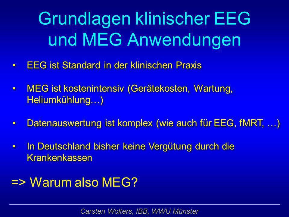 Carsten Wolters, IBB, WWU Münster Grundlagen klinischer EEG und MEG Anwendungen => Warum also MEG? EEG ist Standard in der klinischen Praxis MEG ist k