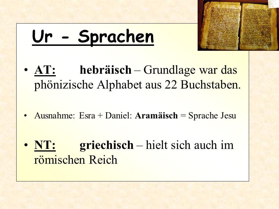 Ur - Sprachen AT: hebräisch – Grundlage war das phönizische Alphabet aus 22 Buchstaben. Ausnahme: Esra + Daniel: Aramäisch = Sprache Jesu NT: griechis