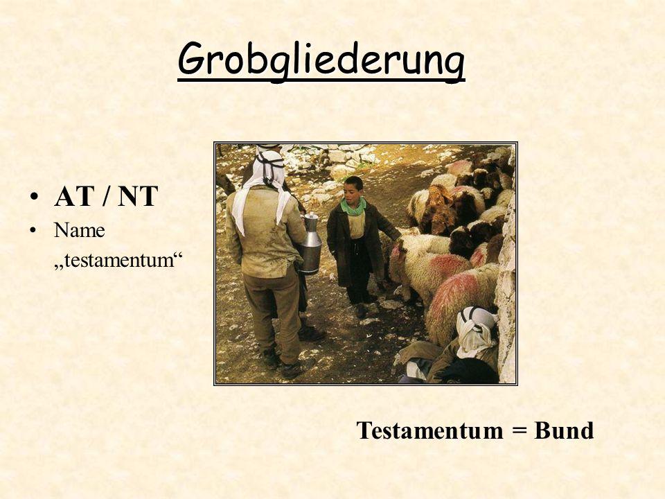 Grobgliederung AT / NT Name testamentum Testamentum = Bund
