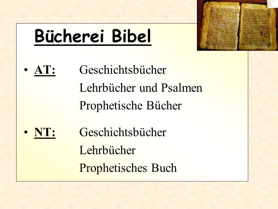 Bücherei Bibel AT: Geschichtsbücher Lehrbücher und Psalmen Prophetische Bücher NT: Geschichtsbücher Lehrbücher Prophetisches Buch
