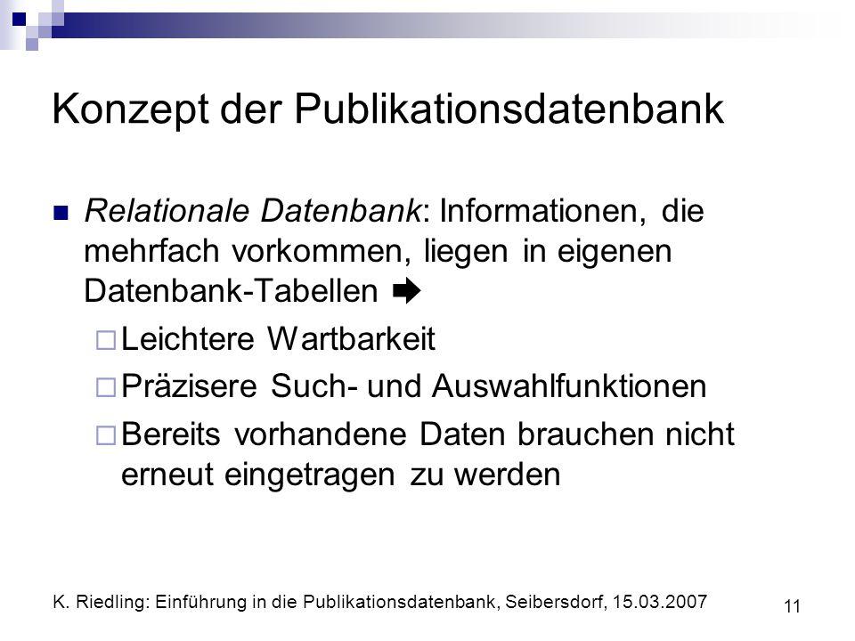 K. Riedling: Einführung in die Publikationsdatenbank, Seibersdorf, 15.03.2007 11 Konzept der Publikationsdatenbank Relationale Datenbank: Informatione