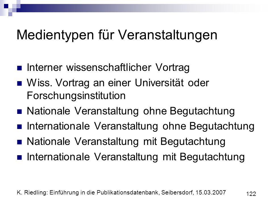 K. Riedling: Einführung in die Publikationsdatenbank, Seibersdorf, 15.03.2007 122 Medientypen für Veranstaltungen Interner wissenschaftlicher Vortrag