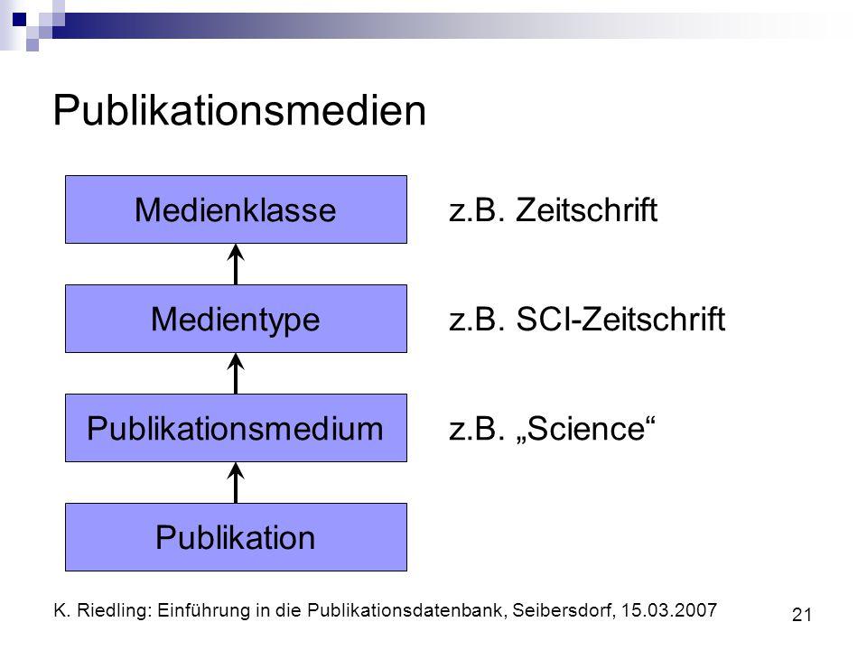 K. Riedling: Einführung in die Publikationsdatenbank, Seibersdorf, 15.03.2007 21 Publikationsmedien MedienklasseMedientypePublikationsmediumPublikatio