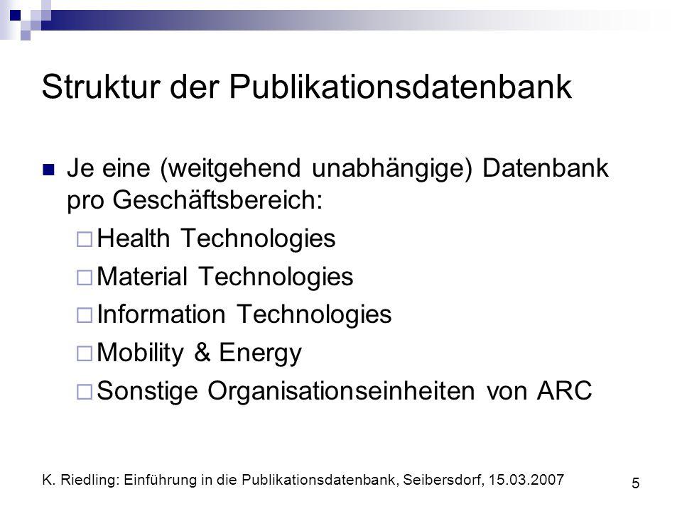 K. Riedling: Einführung in die Publikationsdatenbank, Seibersdorf, 15.03.2007 5 Struktur der Publikationsdatenbank Je eine (weitgehend unabhängige) Da