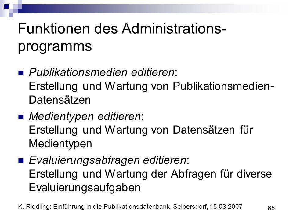 K. Riedling: Einführung in die Publikationsdatenbank, Seibersdorf, 15.03.2007 65 Funktionen des Administrations- programms Publikationsmedien editiere