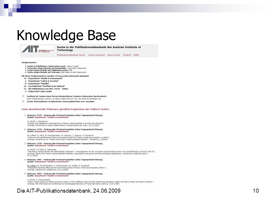 Die AIT-Publikationsdatenbank, 24.06.200910 Knowledge Base