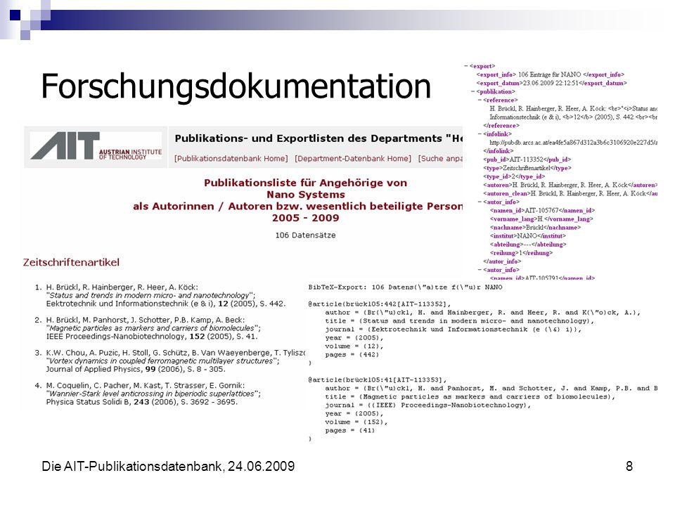Die AIT-Publikationsdatenbank, 24.06.20098 Forschungsdokumentation