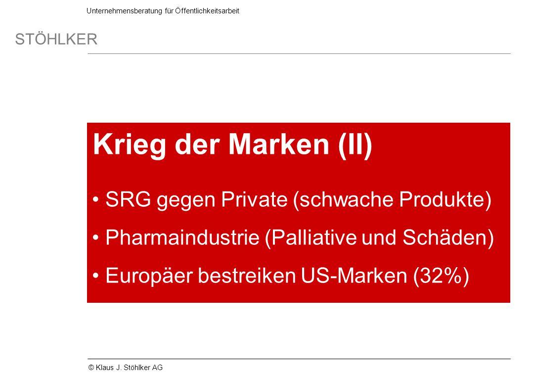 Unternehmensberatung für Öffentlichkeitsarbeit STÖHLKER © Klaus J. Stöhlker AG Krieg der Marken (II) SRG gegen Private (schwache Produkte) Pharmaindus