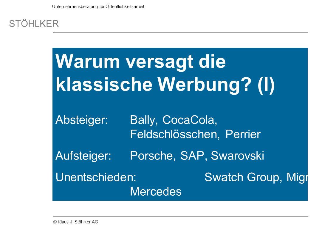 Unternehmensberatung für Öffentlichkeitsarbeit STÖHLKER © Klaus J. Stöhlker AG Warum versagt die klassische Werbung? (I) Absteiger:Bally, CocaCola, Fe