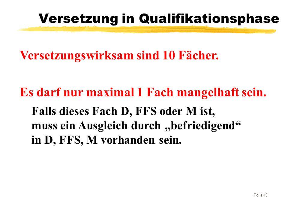 Folie 19 Versetzung in Qualifikationsphase Versetzungswirksam sind 10 Fächer. Es darf nur maximal 1 Fach mangelhaft sein. Falls dieses Fach D, FFS ode