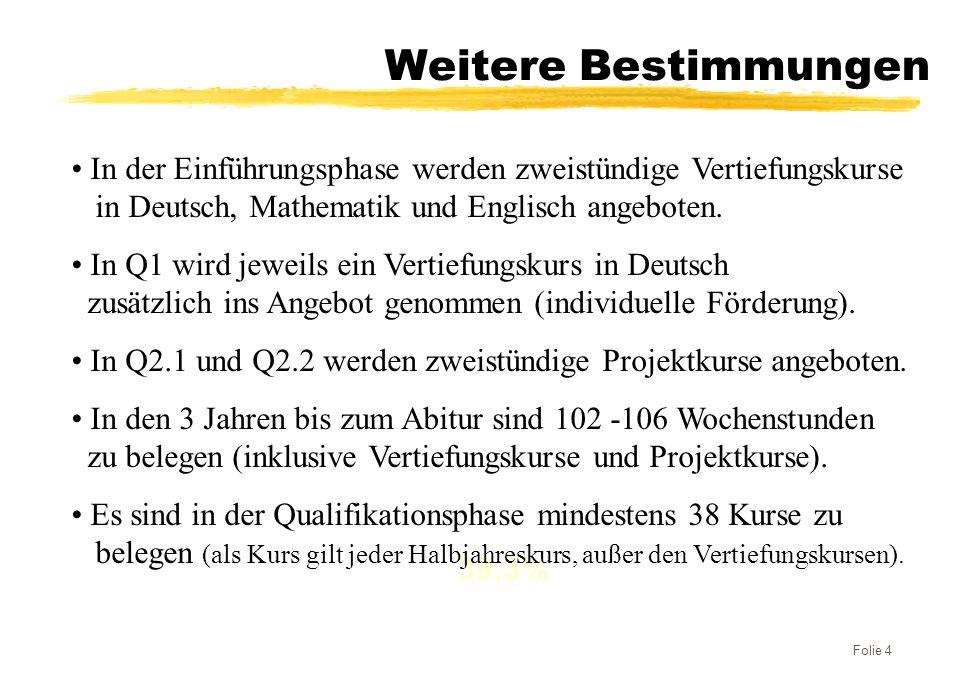 Folie 4 Weitere Bestimmungen 25% 35,7% 39,3% In der Einführungsphase werden zweistündige Vertiefungskurse in Deutsch, Mathematik und Englisch angebote