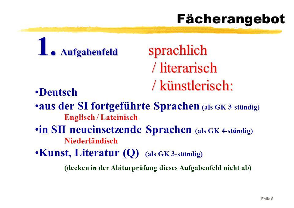 Folie 6 Fächerangebot sprachlich / literarisch / künstlerisch: / künstlerisch: 1. Aufgabenfeld Deutsch aus der SI fortgeführte Sprachen (als GK 3-stün