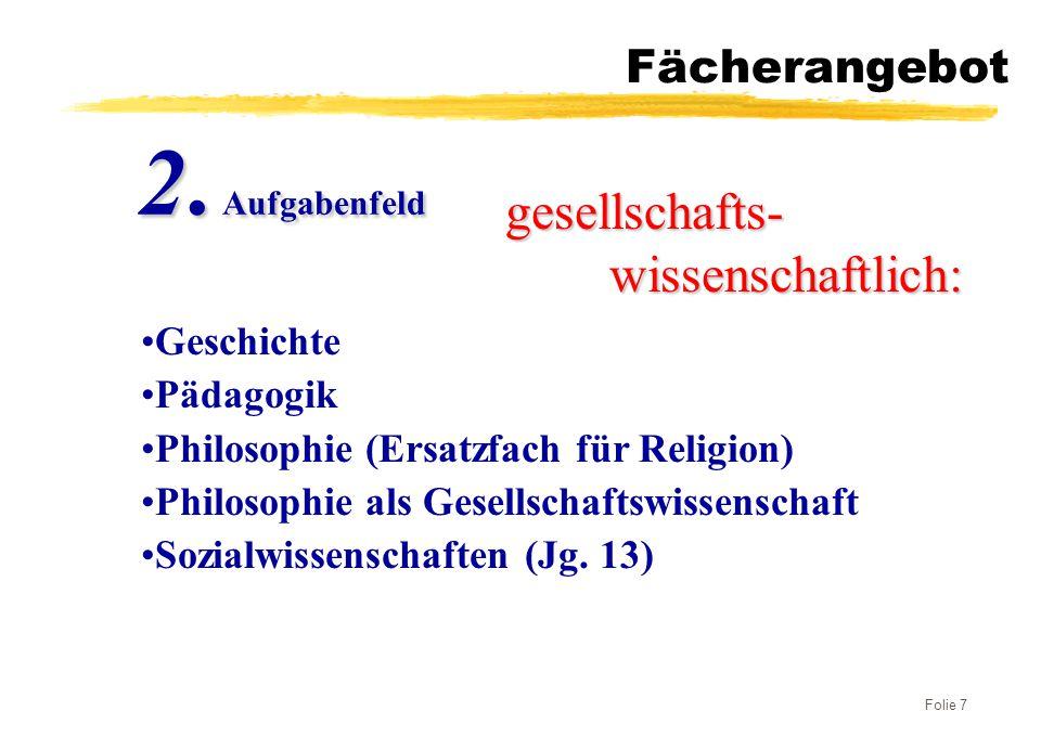 Folie 7 Fächerangebot gesellschafts- wissenschaftlich: 2. Aufgabenfeld Geschichte Pädagogik Philosophie (Ersatzfach für Religion) Philosophie als Gese