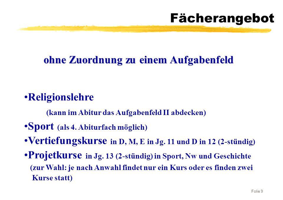 Folie 9 Fächerangebot Religionslehre (kann im Abitur das Aufgabenfeld II abdecken) Sport (als 4. Abiturfach möglich) Vertiefungskurse in D, M, E in Jg