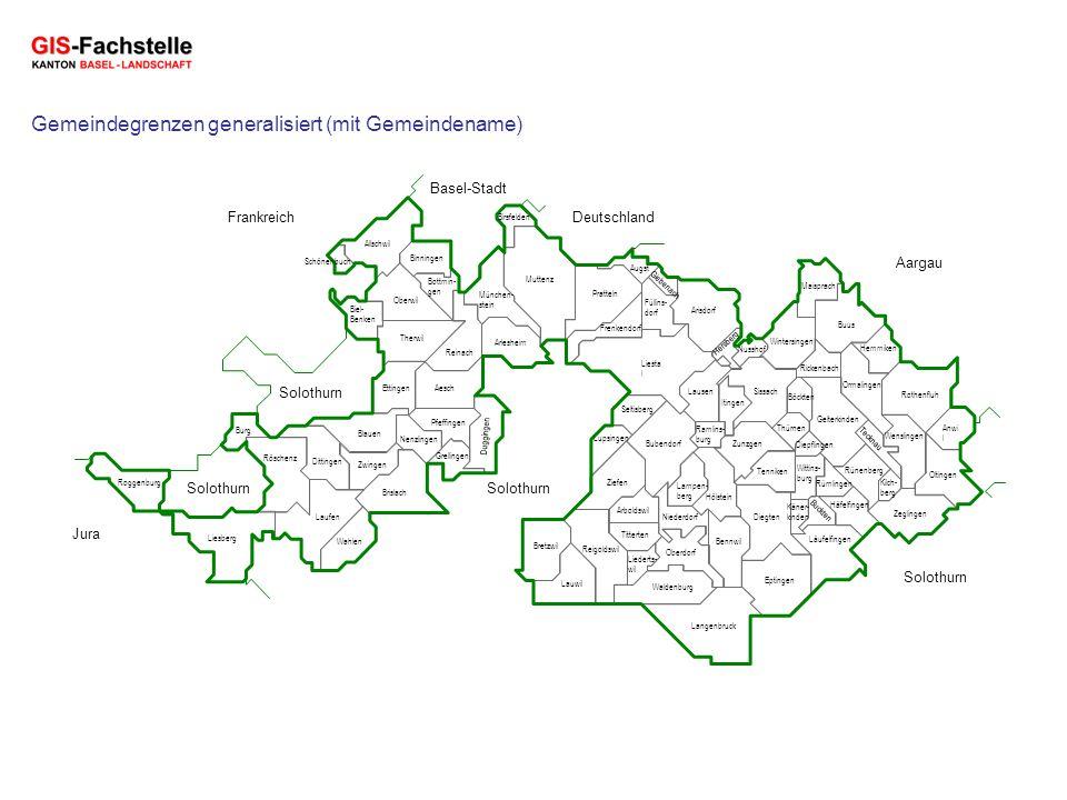 Deutschland Aargau Solothurn Jura Basel-Stadt Frankreich Gemeindegrenzen generalisiert (mit Gemeindename) Rünenberg Augst Aesch Allschwil Arlesheim Bi