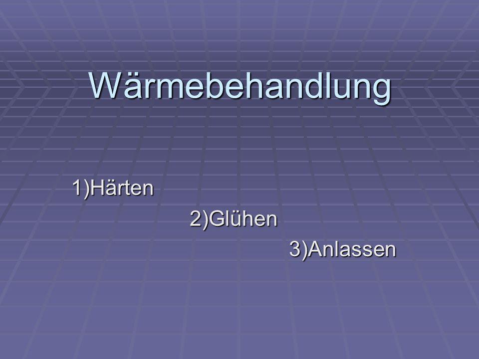 Wärmebehandlung 1)Härten2)Glühen3)Anlassen