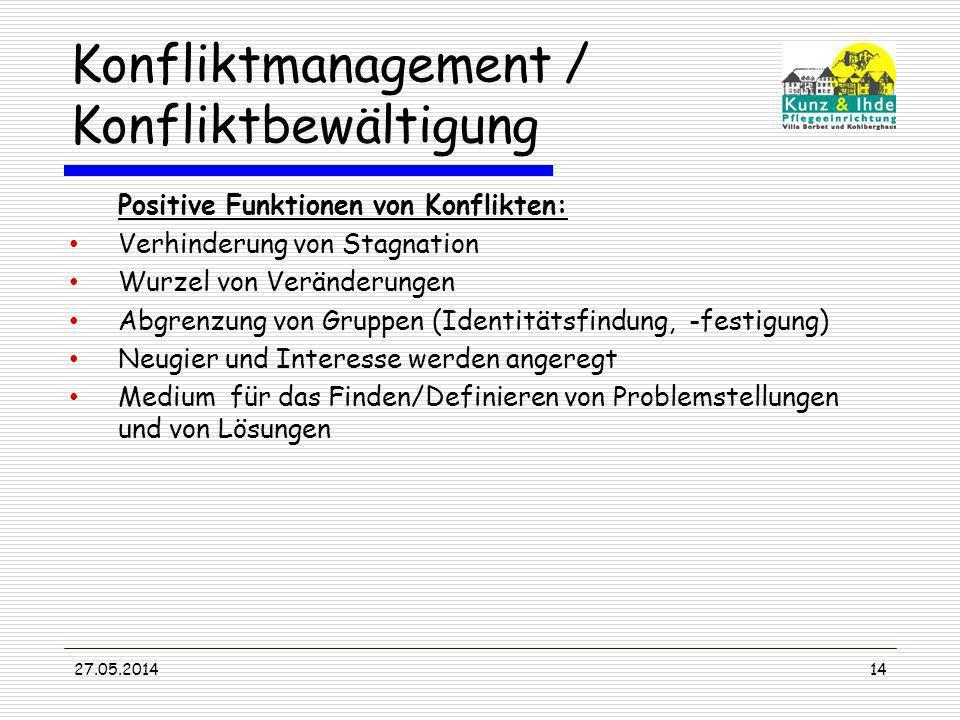 Konfliktmanagement / Konfliktbewältigung Positive Funktionen von Konflikten: Verhinderung von Stagnation Wurzel von Veränderungen Abgrenzung von Grupp