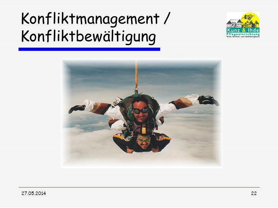 Konfliktmanagement / Konfliktbewältigung 27.05.201422