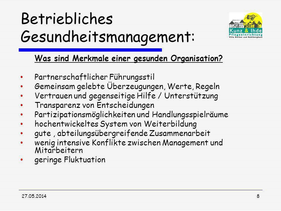 27.05.20148 Betriebliches Gesundheitsmanagement: Was sind Merkmale einer gesunden Organisation? Partnerschaftlicher Führungsstil Gemeinsam gelebte Übe