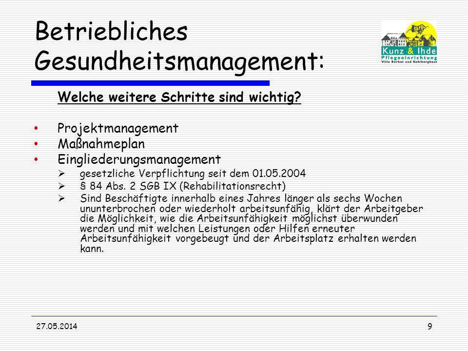 27.05.20149 Betriebliches Gesundheitsmanagement: Welche weitere Schritte sind wichtig? Projektmanagement Maßnahmeplan Eingliederungsmanagement gesetzl