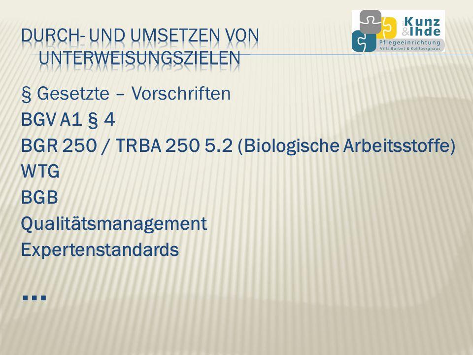 § Gesetzte – Vorschriften BGV A1 § 4 BGR 250 / TRBA 250 5.2 (Biologische Arbeitsstoffe) WTG BGB Qualitätsmanagement Expertenstandards …