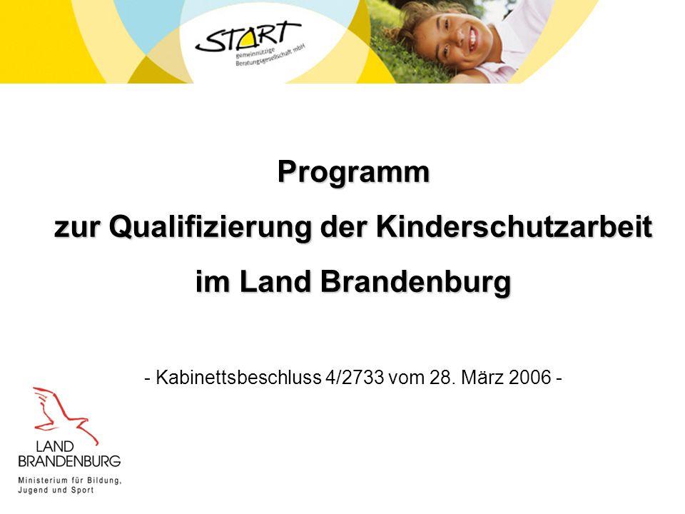 Programm zur Qualifizierung der Kinderschutzarbeit im Land Brandenburg - Kabinettsbeschluss 4/2733 vom 28. März 2006 -