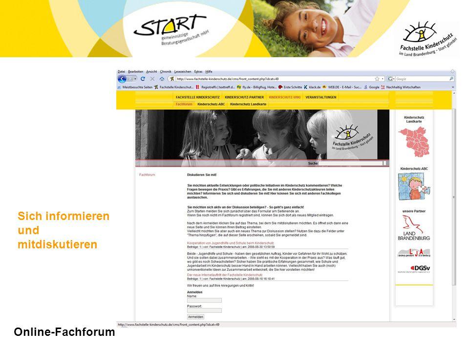 Online-Fachforum Sich informieren und mitdiskutieren