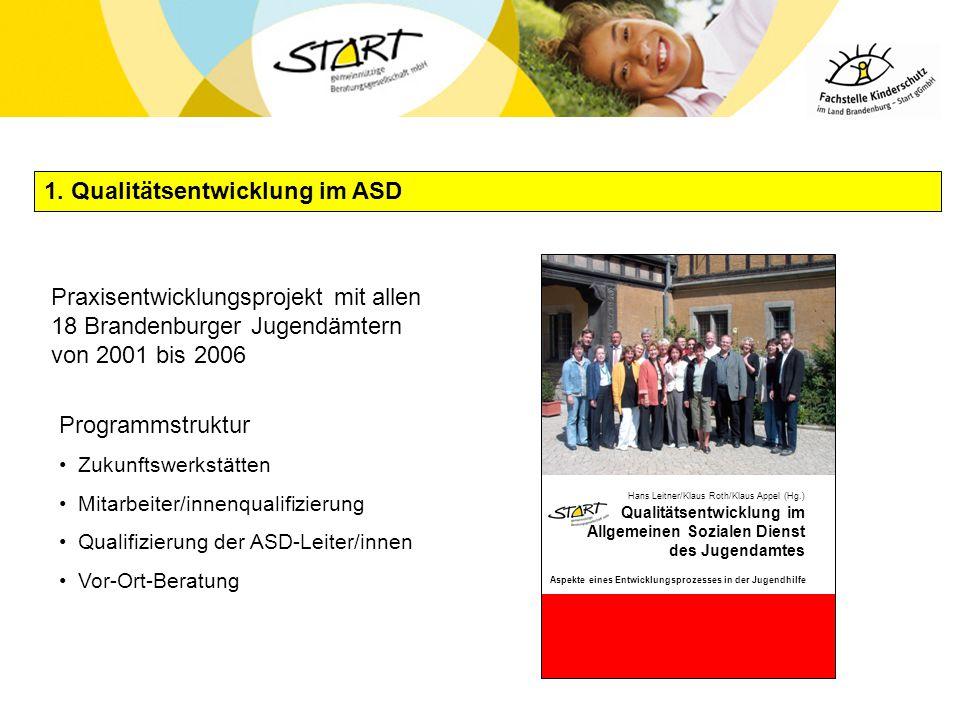 1. Qualitätsentwicklung im ASD Programmstruktur Zukunftswerkstätten Mitarbeiter/innenqualifizierung Qualifizierung der ASD-Leiter/innen Vor-Ort-Beratu