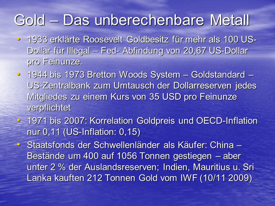 Gold – Das unberechenbare Metall 1933 erklärte Roosevelt Goldbesitz für mehr als 100 US- Dollar für Illegal – Fed- Abfindung von 20,67 US-Dollar pro F