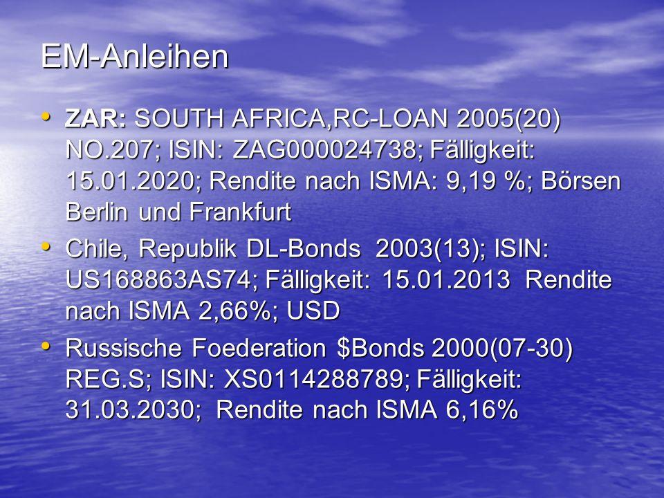 EM-Anleihen ZAR: SOUTH AFRICA,RC-LOAN 2005(20) NO.207; ISIN: ZAG000024738; Fälligkeit: 15.01.2020; Rendite nach ISMA: 9,19 %; Börsen Berlin und Frankf