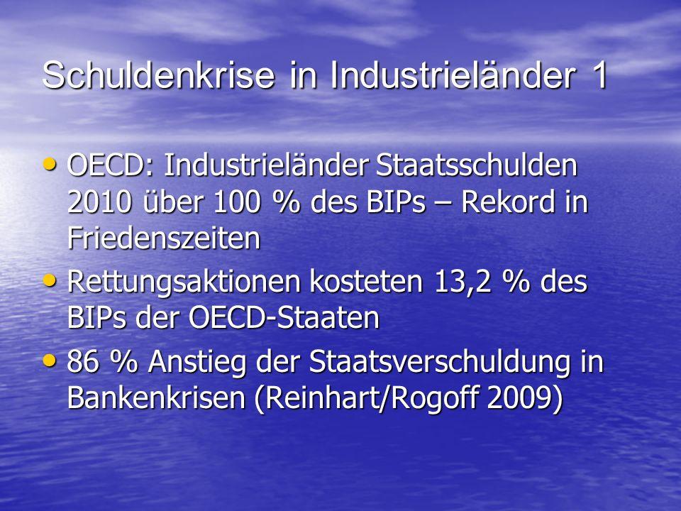 Schuldenkrise in Industrieländer 1 OECD: Industrieländer Staatsschulden 2010 über 100 % des BIPs – Rekord in Friedenszeiten OECD: Industrieländer Staa