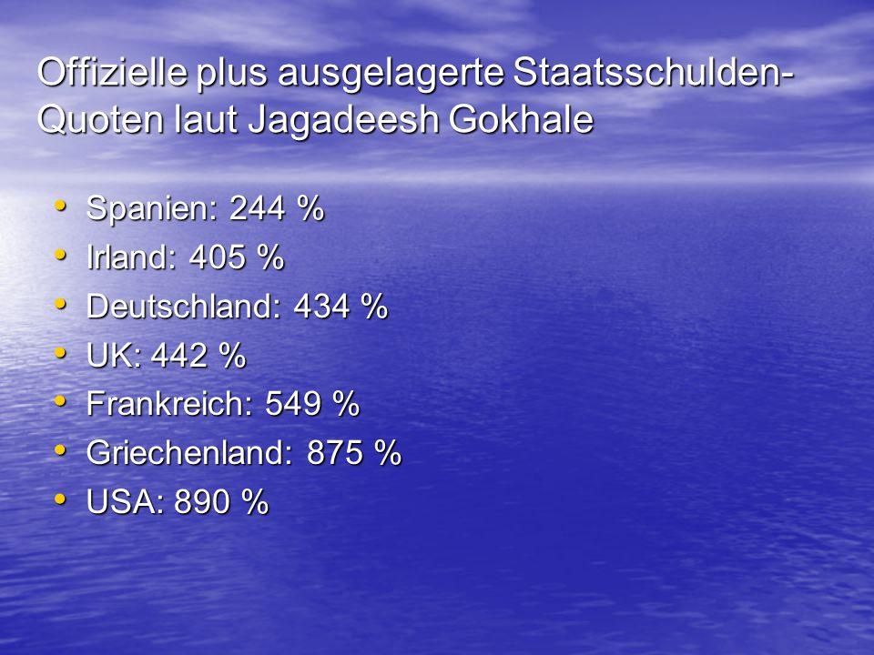 Offizielle plus ausgelagerte Staatsschulden- Quoten laut Jagadeesh Gokhale Spanien: 244 % Spanien: 244 % Irland: 405 % Irland: 405 % Deutschland: 434