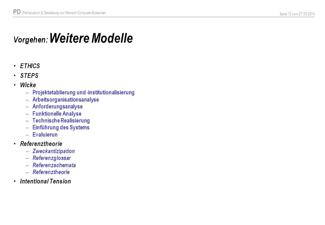 PD Partizipation & Gestaltung von Mensch-Computer-Systemen Seite 12 vom 27.05.2014 Vorgehen: Weitere Modelle ETHICS STEPS Wicke – Projektetablierung u